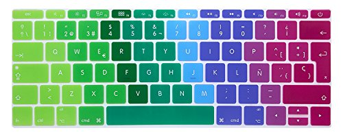 MMDW Spanish ESP Language Silicone Keyboard Cover Compatible with MacBook Pro 13 Inch 2017 & 2016 Release A1708 No Touch Bar & for MacBook 12 Inch A1534 Protective Skin (EU Layout),Rainbow