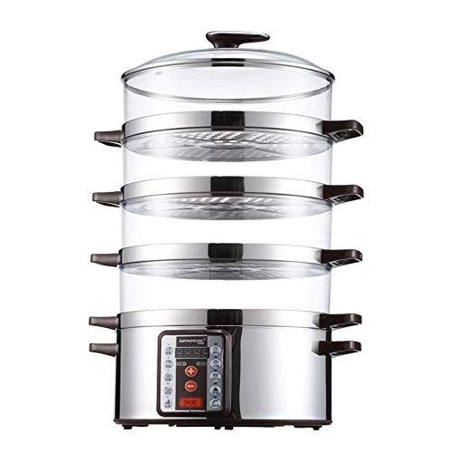 HIZLJJ Vaporeras Eléctricas, Alimentos Vapor Vapor Vegetal de 4 Niveles apilable Apagado automático rápido Calefacción eléctrica Vapor del alimento con el Indicador de calefacción