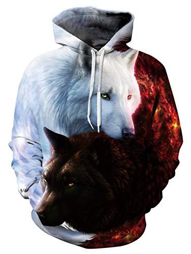 Rave on Friday Herren Wolf Kapuzenpullover Cool Galaxy Hoodie Lustig 3D Drucken Pullover Neuheit Sweatshirt Tier Gedruckt Jumper Leicht mit Taschen Unisex XXL