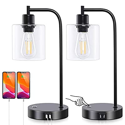 Ganiude Industrial 3-Way Dimmable Table Lamps Set of 2,Vintage Touch Control Desk Lamps with 2 USB Ports,Bedside Nightstand Lamps with Glass Shade for Reading,Living Room,Bulbs Included