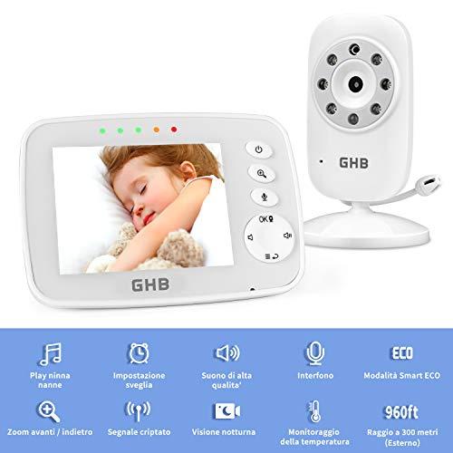 GHB Baby Monitor Videocamera Schermo da 3,2 '' 950mAh Funzione Promemoria Visione notturna ECO Rilevazione Temperatura Ninnananna Zoom 2x Fino a 4 Telecamere per Neonati, Anziani e Animali Domestici