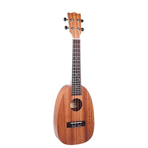 Kalaok Ukelele de 23 pulgadas Forma de piña Sapele Tablero trasero Tablero tuerca de plástico Puente de palisandro Ukeleles para niños pequeños Principiantes Juguete Guitarra Instrumento musical
