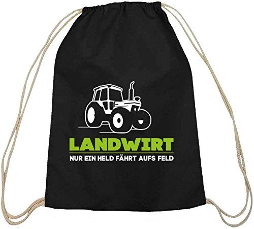 Landwirt Trecker, Traktor Bauer Baumwoll natur Turnbeutel Rucksack Sport Beutel, Größe: onesize,schwarz natur