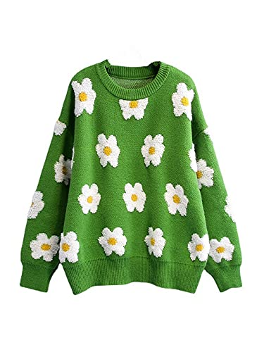 Women Casual Loose Long Sleeve Sweather Crew Neck Floral Print Knit Pullover Y2K Oversized Sweatshirt Pullover (Green, One Size)