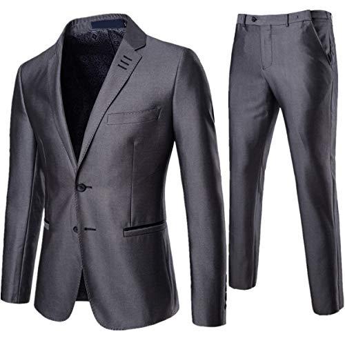 AOWOFS Slim Fit Pak voor heren, 2-delig, strijkvrij, herenpak, business bruiloft, kostuum