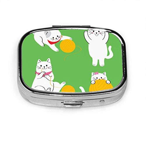 Niedliche Katze spielen gestrickte Garnkugel Einzigartige Pillenbox Wasserdichte Pillenhülle Tablettenhalter Brieftasche Organizer Hülle für Tasche oder Geldbörse