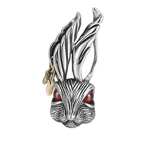 S925 Colgante de joyería de Plata esterlina Collar con Colgante de Conejo Personalizado Hip-Hop Street Fashion Colgante de Plata para Hombres y Mujeres