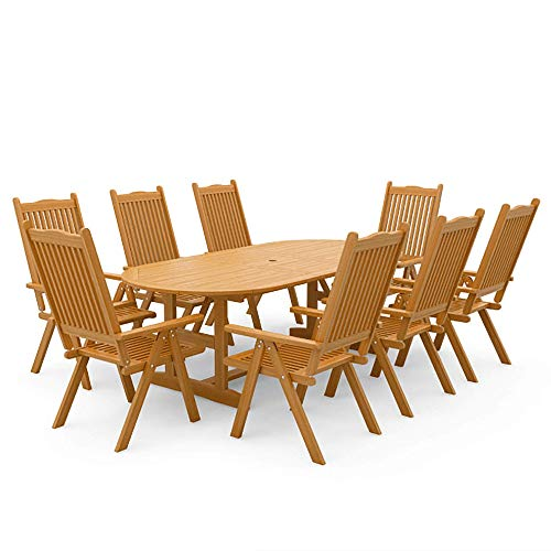 BillyOh Windsor 1.8m-2.3m 6/8 Seater Dining Set | 6/8 Seater Garden Furniture Set | 6/8 Chairs and Extending Table (8 Armchairs)