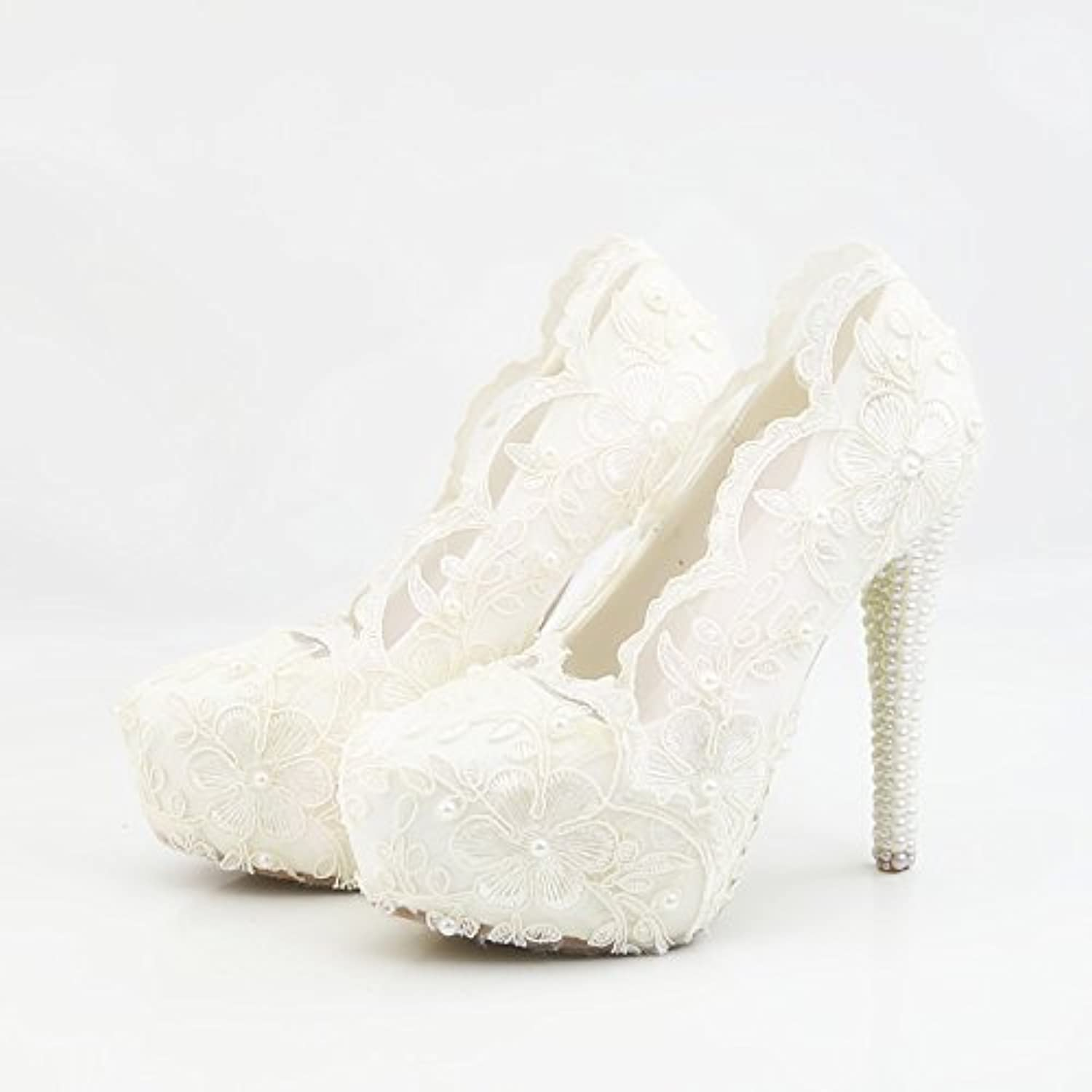 HYP Wedding Women shoes Wedding shoes Women Pumps Closed Toe Wedding Party Court shoes Bridesmaid Bridal shoes High-Heeled lace Flowers.