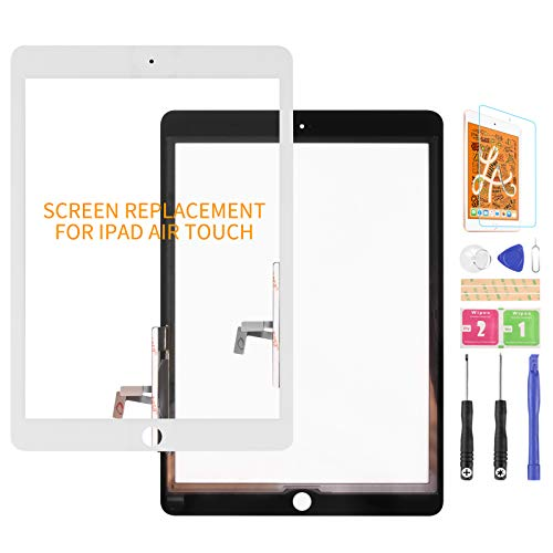 For iPad Air 1st Generation Touch Screen Digitizer Glass Replacement,For A1474 A1475 A1476 Touch Display Panel Repair Parts Kit,with Tempered Glass+Tools(Not LCD, Without Home Button) (White)