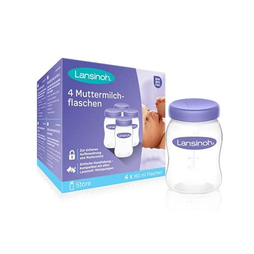 Lansinoh Muttermilchflaschen, 4 Stück - zur sicheren Aufbewahrung von Muttermilch und Brei - BPA frei