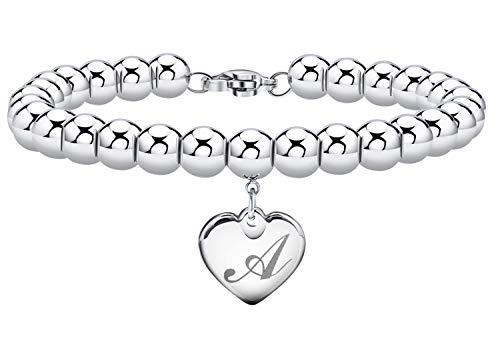 Initial Bracelet for Girl Heart Tag Bead Bracelet Letter A Bracelets Birthday Gifts