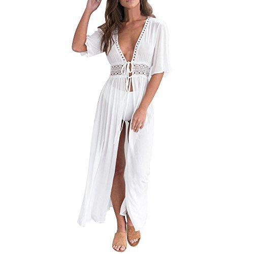 Gusspower Vestido de Blusa, Mujeres Verano Encaje Kimono Cardigan Ganchillo Largo Vestido Protector Solar Boho Bikini Cover up de Playa (Blanco, M)