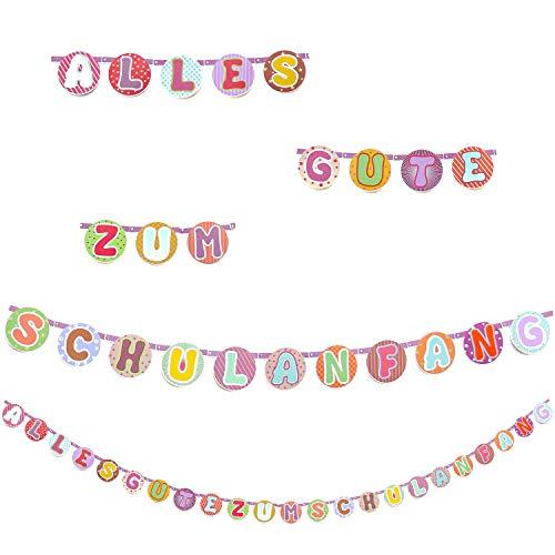 Oblique Unique® Alles Gute zum Schulanfang Girlande Hänge Deko für Schuleinführung Einschulung Schulanfang Dekoration Banner Schule Jungs Mädchen