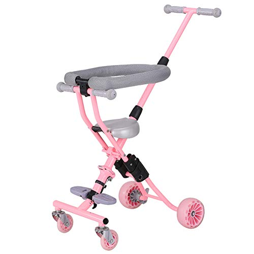 Bicicletas para niños Guo Shop- Triciclo Infantil Trolley Plegable de bebé Ligero de 4 Ruedas
