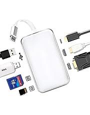 YUKI TYPE C ハブ USB C ハブ Type-C HUB USB3.0 HUB多機能 7in1 PD急速充電 4K HDMI 大画面/簡単接続 VGA SD/Micro sd/TF カードリーダー マルチ 変換アダプタ- USB 5Gbps高速データ転送 USB-C 変換 MacBook2018・MacBookPro/ChromeBook対応 (ガラス面, ホワイト)