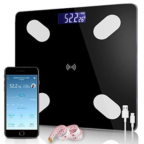Hengda Körperfettwaage,Körperfett Waage,Personenwaage,App und Bluetooth-Verbindung für iOS und Android,13 Smart Körperparametern,Unterstützt USB-Aufladung, Hochpräzisions-Sensoren für Körperfett