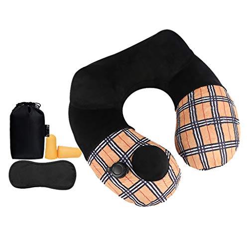Almohada de Viaje Inflable para Aviones - Soporte de Cuello súper Compacto y liviano para Paquete de Accesorios de Viaje para Autos y Trenes - Máscara Ocular y Tapones para los oídos