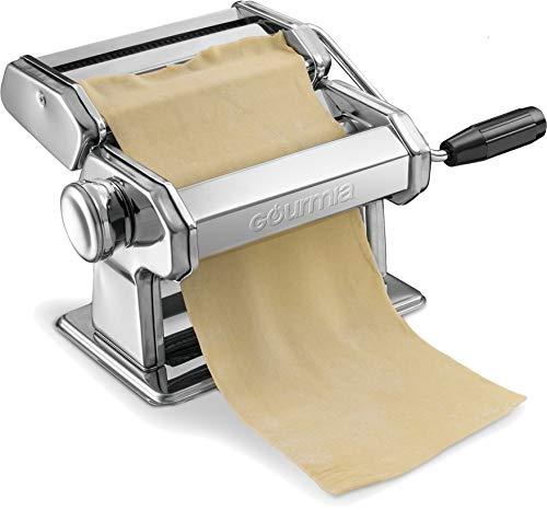 Gourmia GPM9980 – Machine à pâtes, rouleau et coupe pâtes – manivelle manuelle – tranche la pâte en spaghetti et fettuccine – surface en acier inoxydable et pièces chromées – 150 mm (réglé)
