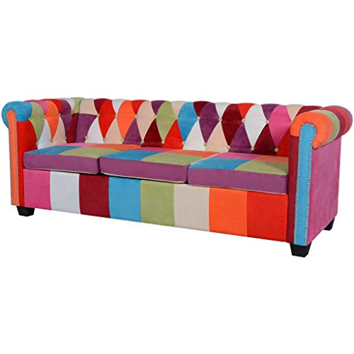 vidaXL Sofá Chesterfield de 3 Plazas Tapizado Tela Sillón Asiento Chaise Lounge