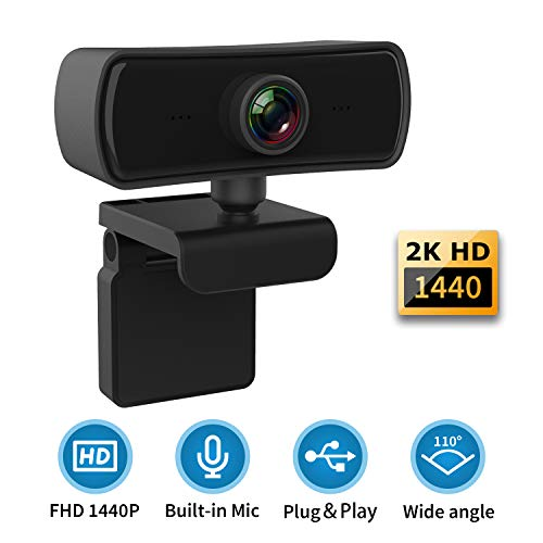 1440P 2K HD Webcam with Microphone Noise Reduction,USB 2.0 Desktop Laptop Computer Web Camera with 4G Auto Light Correction,Plug in/Play,for Windows Mac Linux,for Video Streaming,Gaming,Online Classes