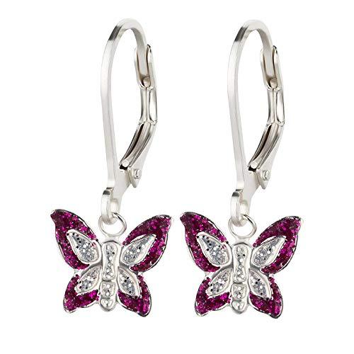 FIVE-D Ohrringe Kinderohrringe Schmetterling zwei Farben Leverback 925 Silber (Fuchsia-Silber)