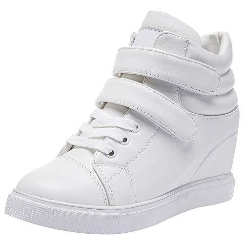 amropi Mujer Cuña Interior Tops Altos Gancho y Bucle Casual Zapatillas de Moda(Blanco,35 EU)