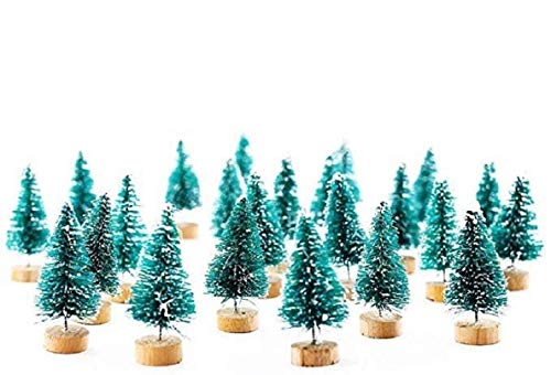 YABINA ACCESSORY 25pcs Mini Pine Trees Frosted Sisal Trees with Wood Base Bottle Brush Trees Plastic Winter Snow Ornaments Tabletop Trees for Crafting, Displaying and Decoration (25PC)