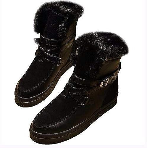 AGECC botas de Nieve, cómodas y duraderas, de Piel, con Parte Inferior Plana, con Cilindro Corto, botas de Invierno con Suela