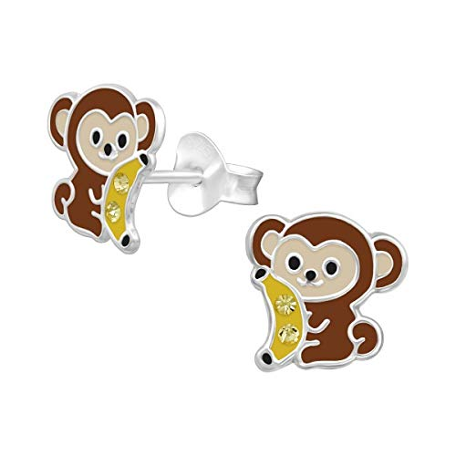 Sterling Silver Monkey Earrings with Crystal