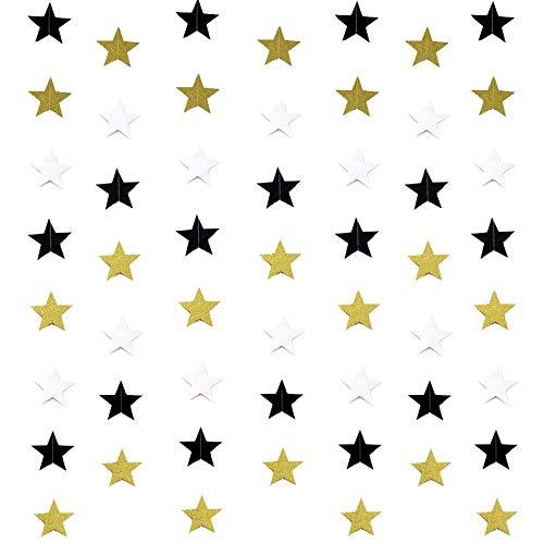 Oro Intermitente Estrella De Cinco Puntas Guirnalda Colgante Colgante Decoración Del Banquete De Boda 20 Metros Oro blanco y negro