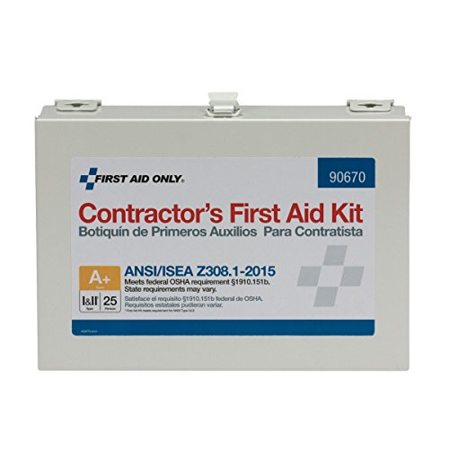 First Aid Only 90670 ANSI 2015 Compliant 25 Person Class A+, Contractor First Aid Kit, Metal