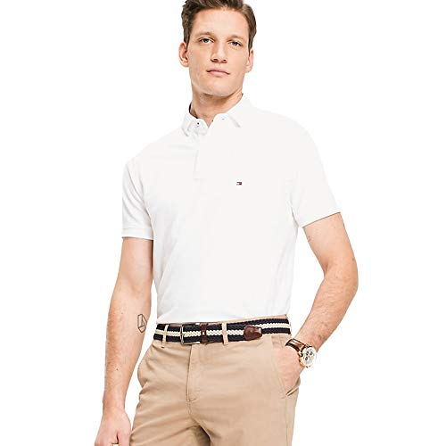 Tommy Hilfiger Herren CORE HILFIGER SLIM POLO Poloshirt, Weiß (Bright White 100), Medium