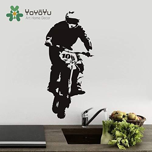 Verwijderbare sport motorfiets woonkamer vinyl muur sticker crossmotor rijder muurschildering kamer decoratie sticker kunst jongen slaapkamer decoratie 85x192cm