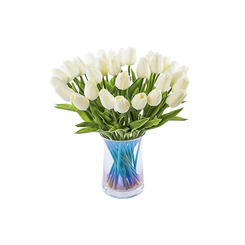 silk flower arrangements joejisn 30pcs artificial tulips flowers real touch tulips fake holland pu tulip bouquet latex flower white tulip for wedding party office home kitchen decoration (milk white)
