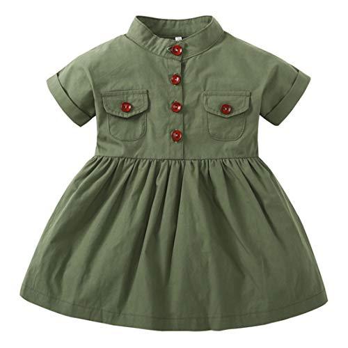 LENGIMA Robe d'été à Manches Courtes en Coton avec Boutons Verts (Color : Army Green, Size : 100)