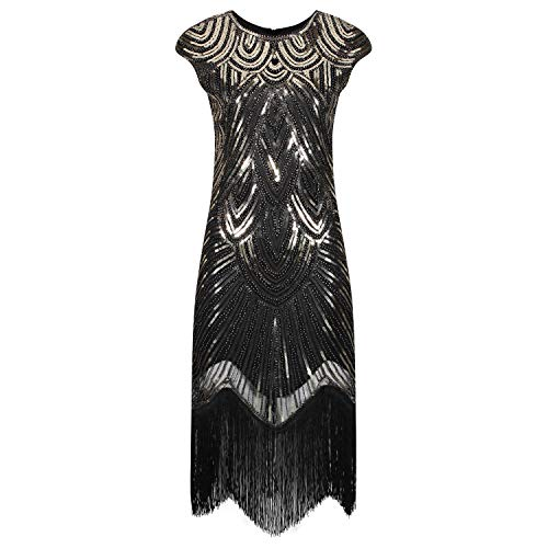 Ro Rox Evelyn Great Gatsby Cocktail Party 1920er Jahre Kleid - Schwarz & Gold (XL - 42)