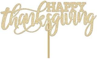 DKISEE Tarjeta con purpurina para tarta de Acción de Gracias, decoración para tarta de agradecimiento, decoración de cena ...