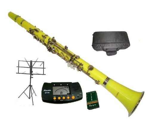 Merano B Flat Yellow / Silver Clarinet with Case+MouthPiece+Metro Tuner+Black Music Stand+11 Reeds