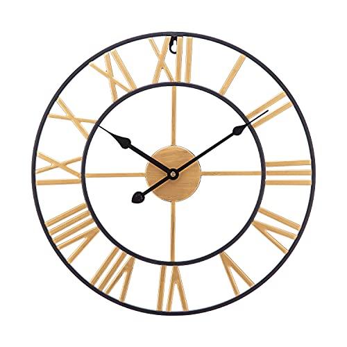 SUCHDECO Reloj de Pared Vintage Silencioso 60 cm, Dorado, Eléctrico,Reloj Circular con...