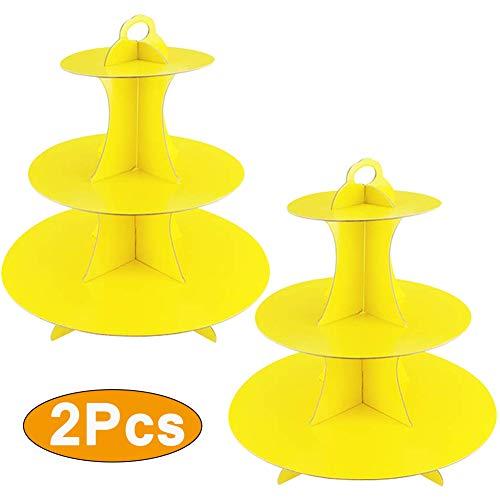 2 Unidades Soporte de Magdalenas de Cartón Amarillo de 3 Niveles, Postre Soporte para Cupcakes Redondo para Cumpleaños, Fiesta, Baby Showers