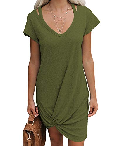 Shaoroua Womens V Neck Short Sleeve T-Shirt Dress Summer Casual Draped Front Twist Midi Dresses