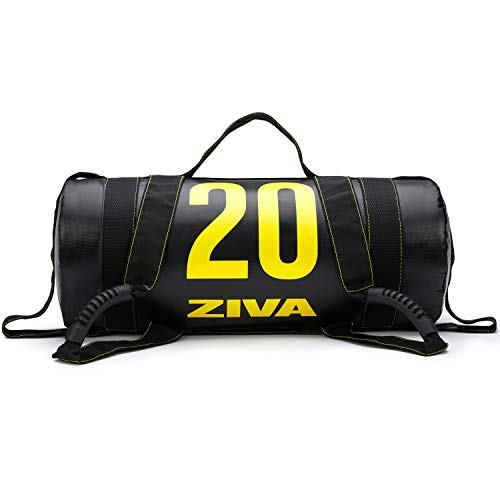 """ZIVA Power Core Bag - Pre-Weighted Heavy Duty Commercial Grade PVC Exercise Sandbags with Non-Slip Handles - Perfect for Home Gym Weight Cross Training Workouts (24"""" L x 9.0"""" D) - 20lbs, Black"""