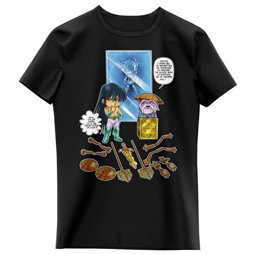 T-shirt Enfant Fille Noir parodie Saint Seiya - Shiryu du Dragon et Dohko chevalier d'or de la Balance - Un choix très difficile... (T-shirt enfant de qualité premium de taille 3-4 Ans - imprimé en F