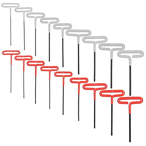 T Handle Allen Wrench Set (18 Pack - Metric and SAE) Industrial Grade Hex Keys