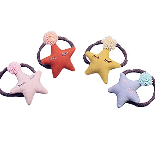 Lurrose 4pcs étoile en forme de liens de cheveux tissu dentelle boule de cheveux corde corde titulaire ponytil pour enfants bambin filles (orange + rose + bleu + jaune)