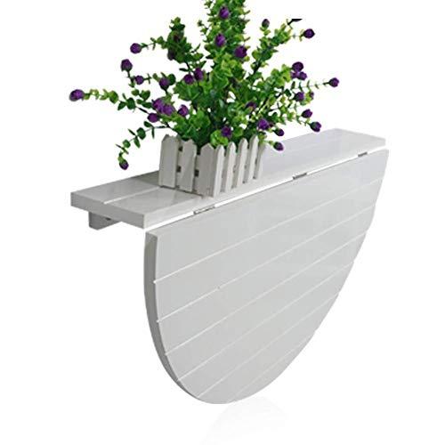 GWFVA Massivholz Wandklapptisch Multifunktionaler Halbrunder Schreibtisch/Computertisch Gemütlicher Gartentisch Esstisch - 2 Farben A ++ (Farbe: B)