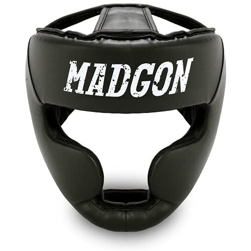 MADGON Casco de Boxeo con Increíble Protección de Impactos – Protector de Cabeza Boxeo Completo – Visión Ideal y Mínima Sudoración – Artes Marciales, MMA, Kick Boxing, Sparring – Incluye Bolsa ✅