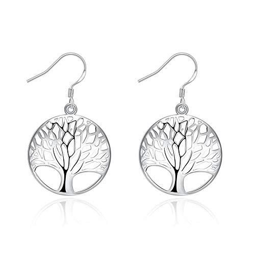 Pendientes colgantes de plata 925 con diseño de árbol de la vida