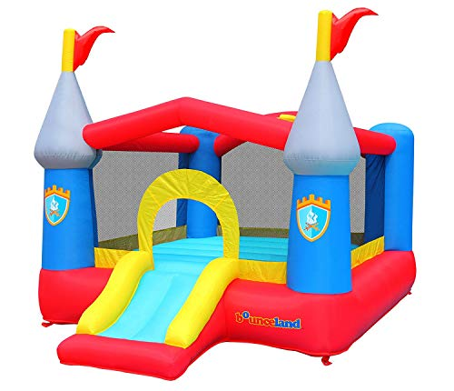 Bounceland New Fun Colors Kiddie Castle Bounce House with Hoop 12 ft L x 9 ft W x 75 ft H Fun Slide and Jump Area Basketball Hoop Strong UL Blower Included Fun Party Theme for Kids